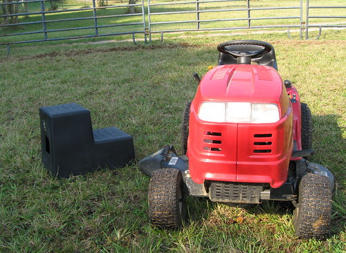 "19"" tall mounting block and mower"