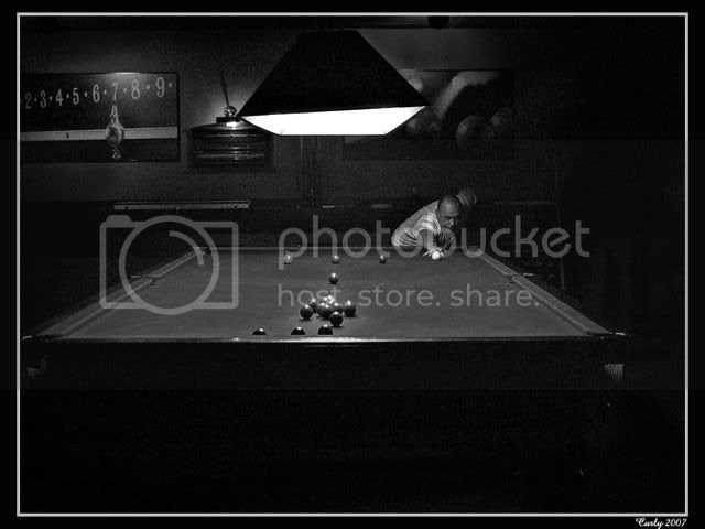 picture of snooker player, Shields Snooker Centre