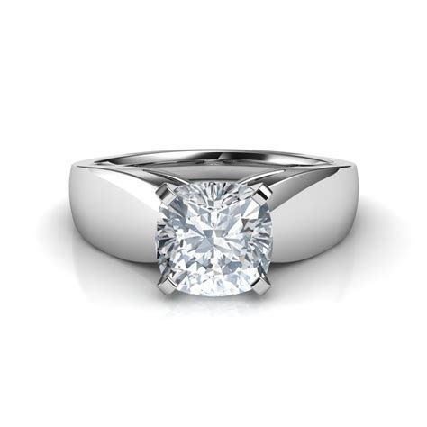 Wide Band Cushion Cut Solitaire Diamond Engagement Ring