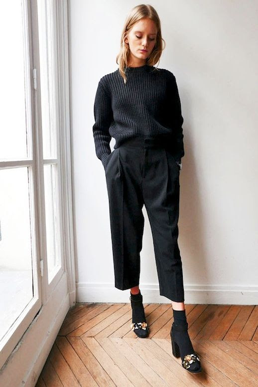 Le Fashion Blog All Black Look Ribbed Sweater Cropped Pants Socks And Embellished Heeled Sandals Via Glamour Paris