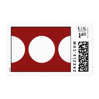 White Circles on Red – Small Stamp