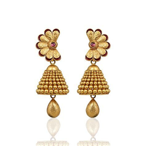 Earrings Designs In Gold Jhumka With Weight Gold Jhumka