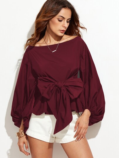 Burgundy Boat Neck Lantern Sleeve Bow Tie Top