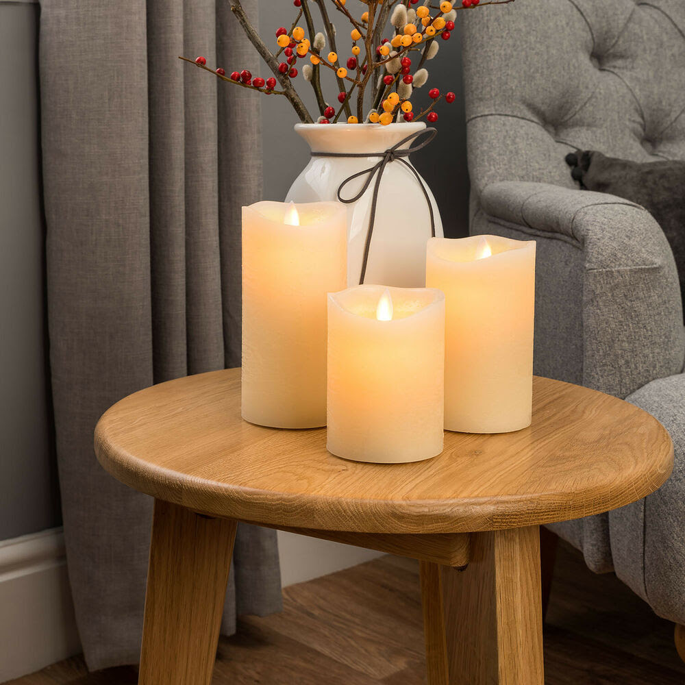 3 Flameless Wax LED Flickering Candles Dancing Battery ...