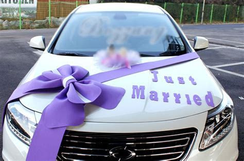 Wedding car Decorations kit Big Ribbons Purple bows Letter