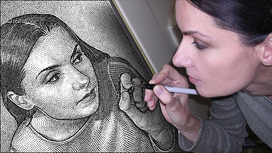 stipple drawing optical illusion