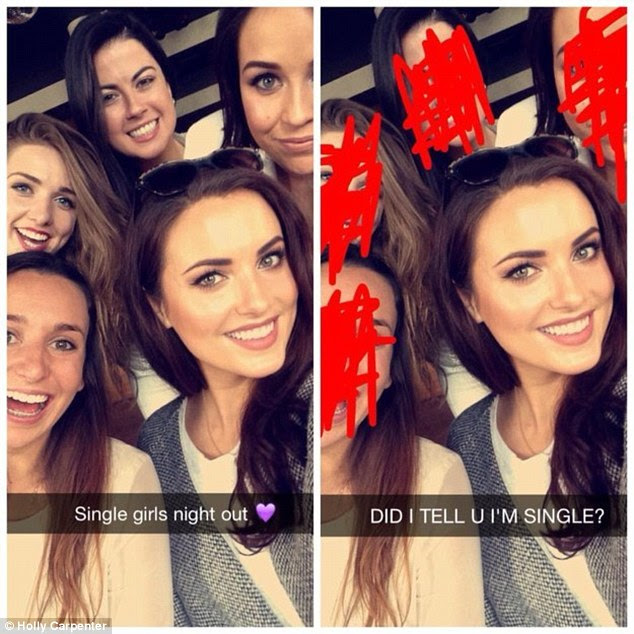 In each Snapchat she revealed the original on the left and then on the right the hidden message