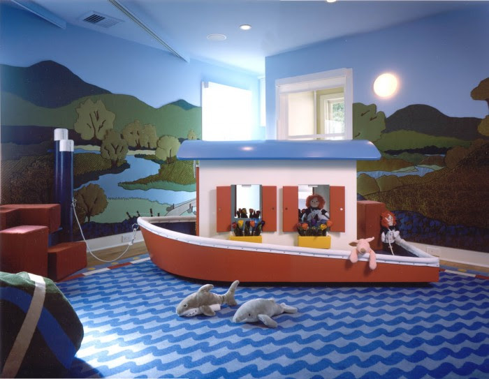 Twining design seascape child's room boat wall murals