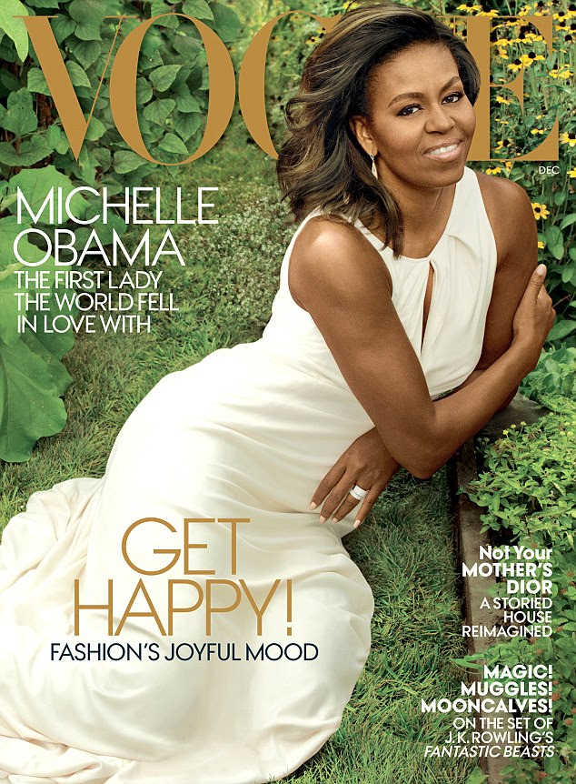 First Lady: Michelle Obama wears an elegant, white Carolina Herrera dress on the December cover of Vogue