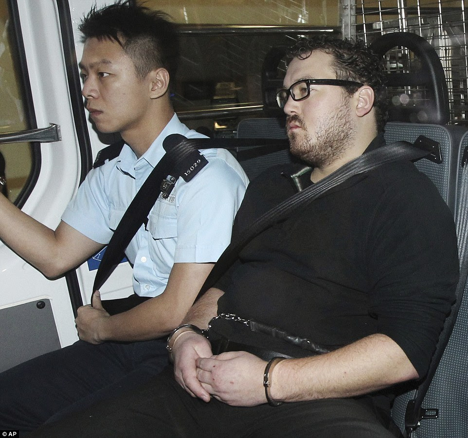Bloated: Jutting, 31, pictured in 2014 looking overweight and unshaven, has pleaded not guilty to the murders of two Indonesian sex workers
