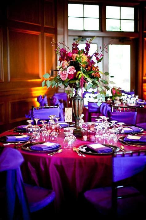 Decor Centerpieces Purple hot pink purple chair sashes hot