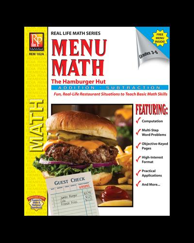 Menu Math Activity Book Comes with Free Menu | Remedia Publications