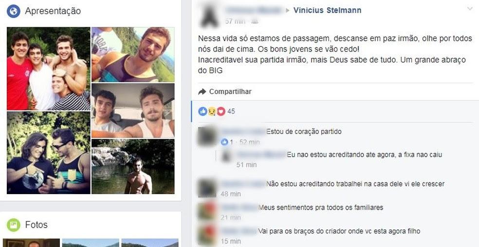 Nas redes sociais, amigos lamentaram a morte do estudante (Foto: Reprodução Facebook)