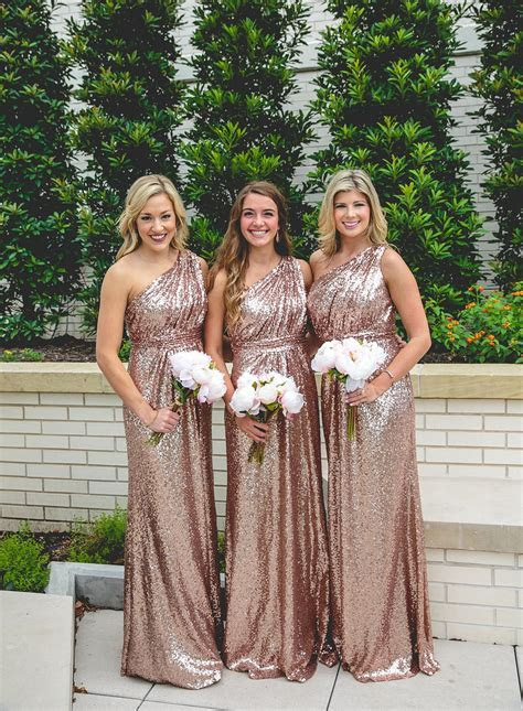 @shoprevelry floor length rose gold sequined bridesmaid