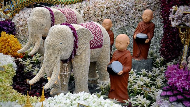 Elephants made from flowers