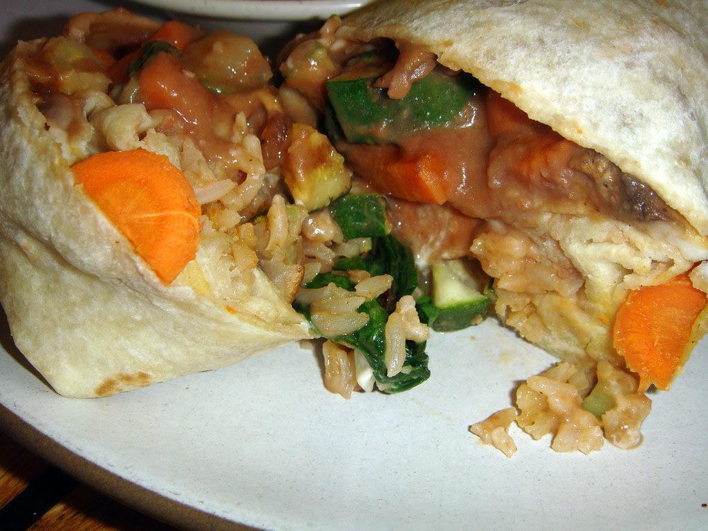 Veggie Burrito opened up