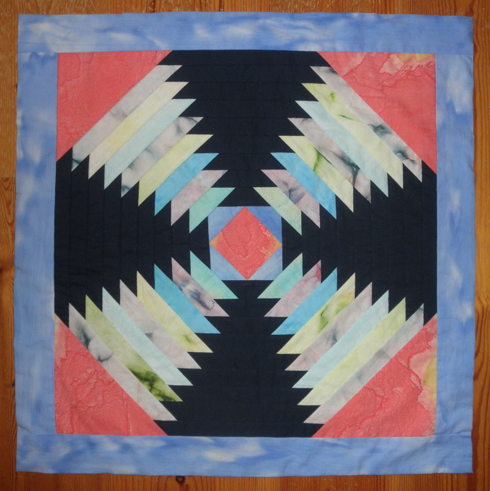 Traditional Pineapple Pattern Designed Table Cloth Or Quilt Made With Hand Painted Fabric