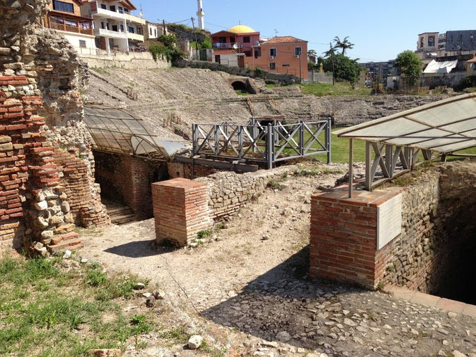 The Albanian Riviera begins at Durres, site of a Roman amphitheater. The Amfiteatri, at barely a third the size of Rome's Coliseum, is a pocket-sized replica uncovered in 1966.