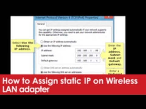 How to Assign static IP on Wireless LAN adapter