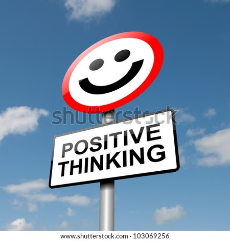 Illustration depicting a road traffic sign with a positive thinking concept. Blue sky background. - stock photo