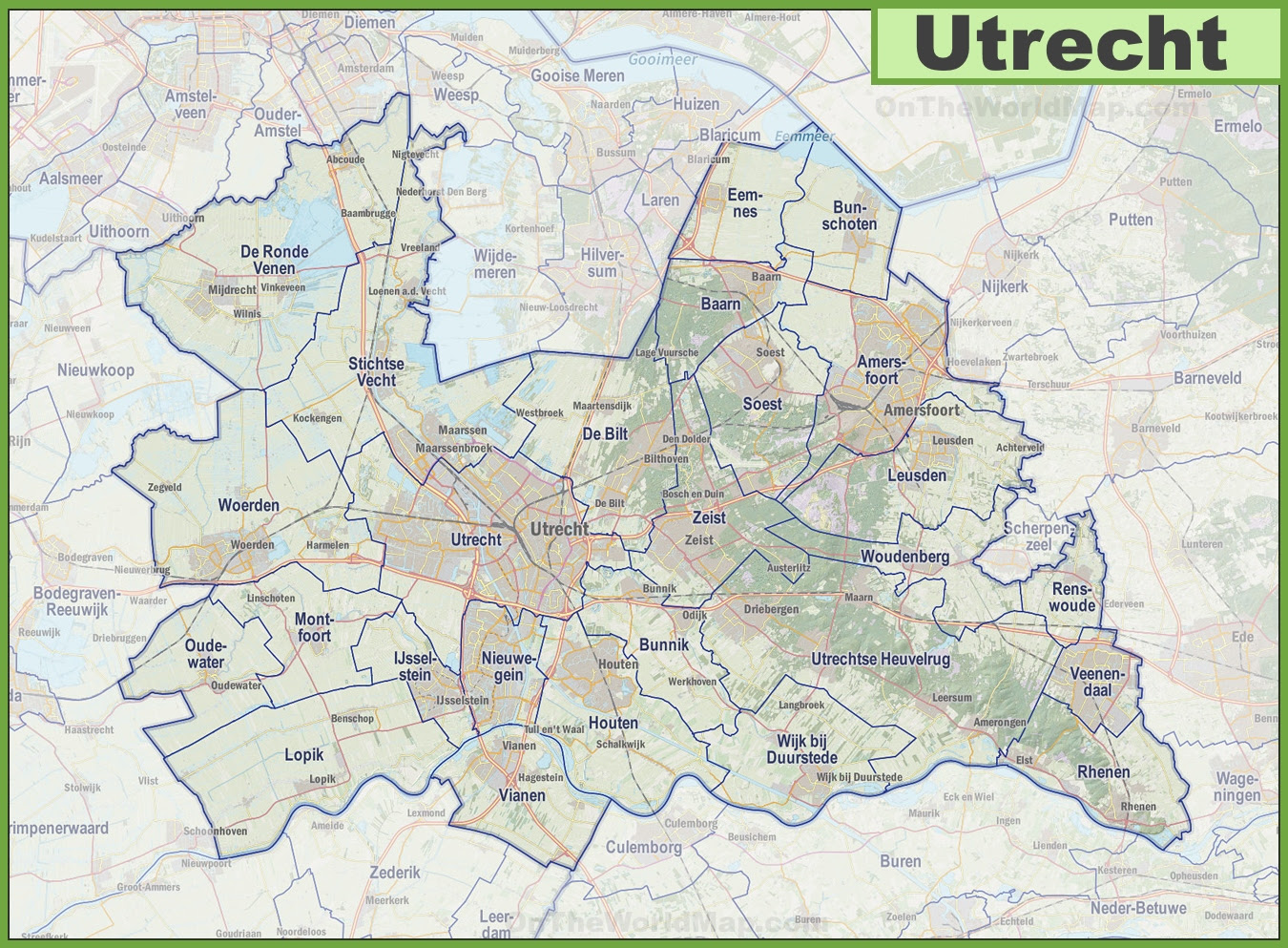 map of utrecht with cities and towns