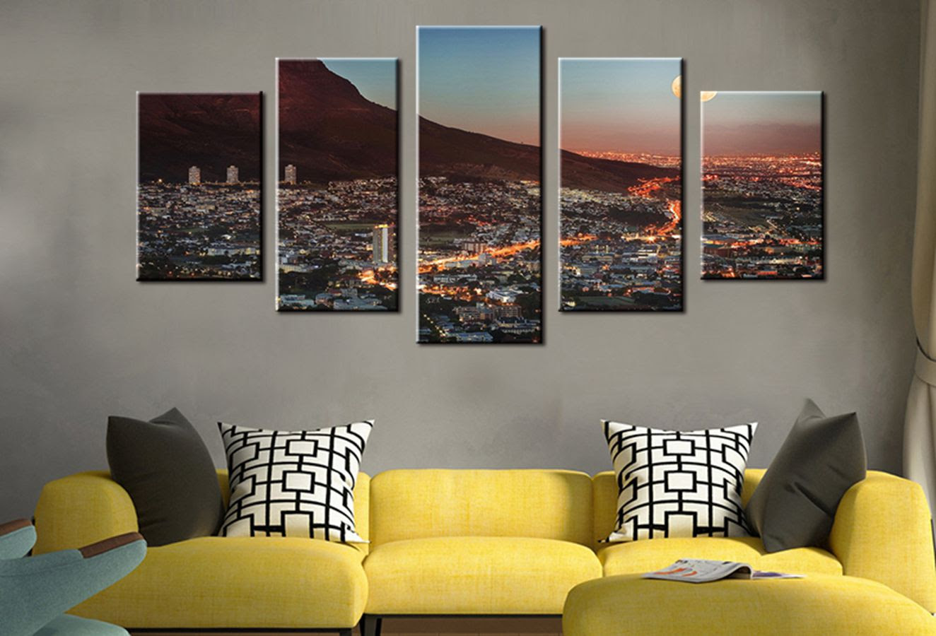 Wall Art Gallery Painting Cape Town Mountain With Moon South Africa Canvas Print Picture City Photo Wall Art For Room Wall Decor Art Gallery Painting Mountaincanvas Painting Mountain Aliexpress