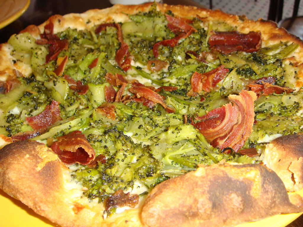 Three Cheeses, Shaved Broccoli, Caramelized Onion and Pancetta