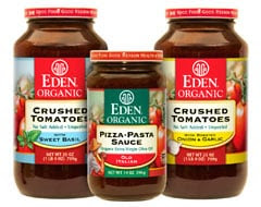 NEW - Amber Glass Jars of EDEN® Organic Tomatoes & Sauces