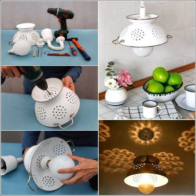 Ideas & Products: How to make a Pendant Lamp from a Colander