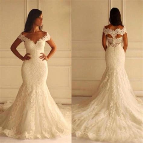 Exquisite Mermaid Lace Church Wedding Dresses 2015 Off The