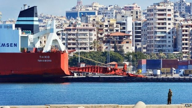 Norwegian cargo vessel Taiko prepares to be loaded with chemical weapons at the Syrian port of Latakia (10 February 2014)
