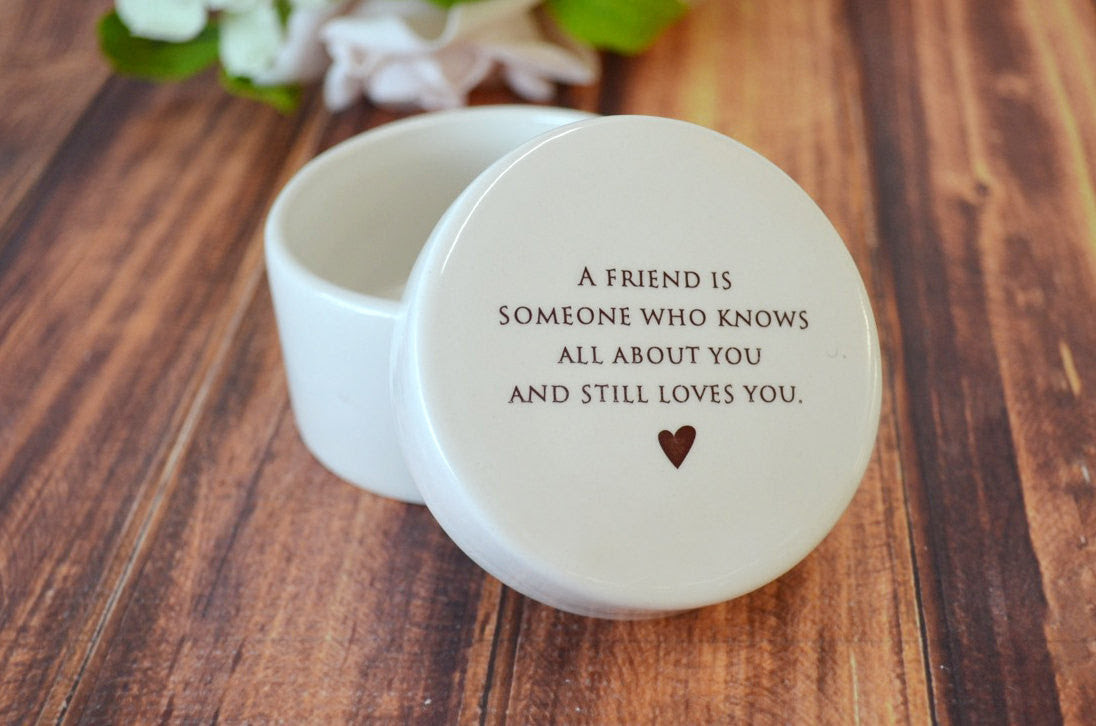 Unique Friendship Gift Or Thank You Gift Round Ceramic Keepsake