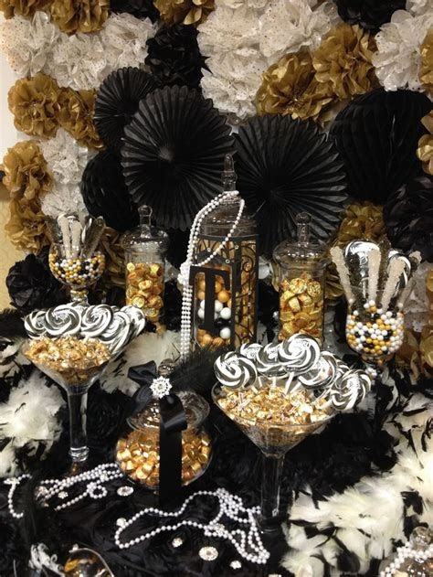 Great Gatsby themed candy buffet . gold, black and ivory