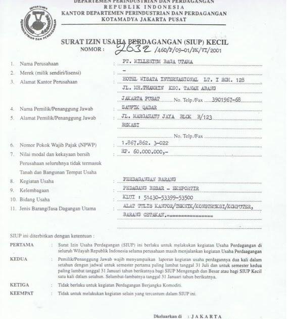 Contoh Surat Izin Usaha Mikro Dan Kecil Contoh Surat