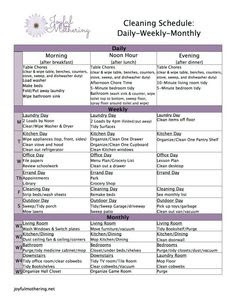 Cleaning Schedule Daily Weekly Monthly – Daily Planner