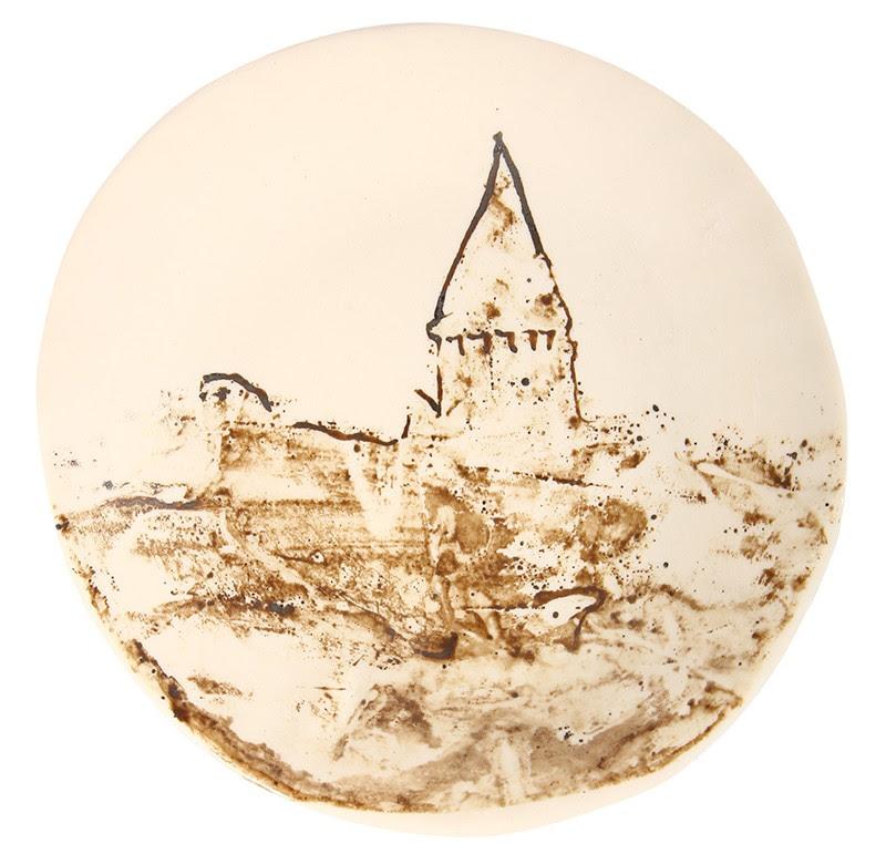 Galata Kulesi Tabak Yuvarlak Kahverengi Mutfak Banyo Zen