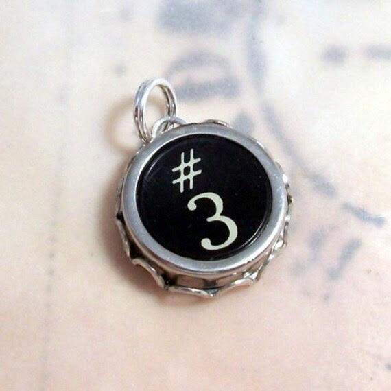 Number 3 Vintage Typewriter Key Charm
