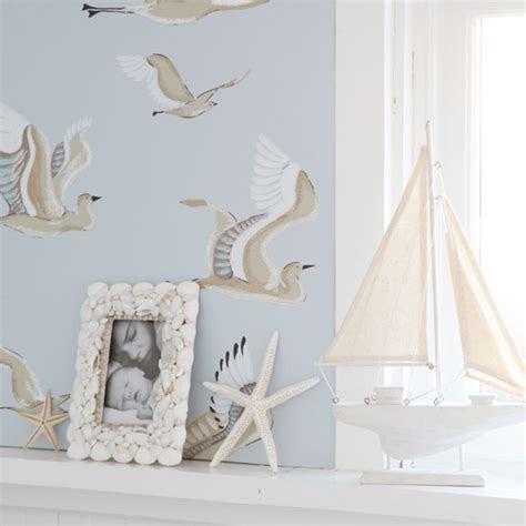 Seaside inspired living room wallpaper   Living room