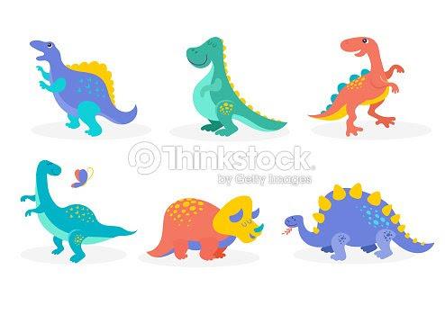 先史時代の動物のかわいいイラスト恐竜コレクション ベクトルアート
