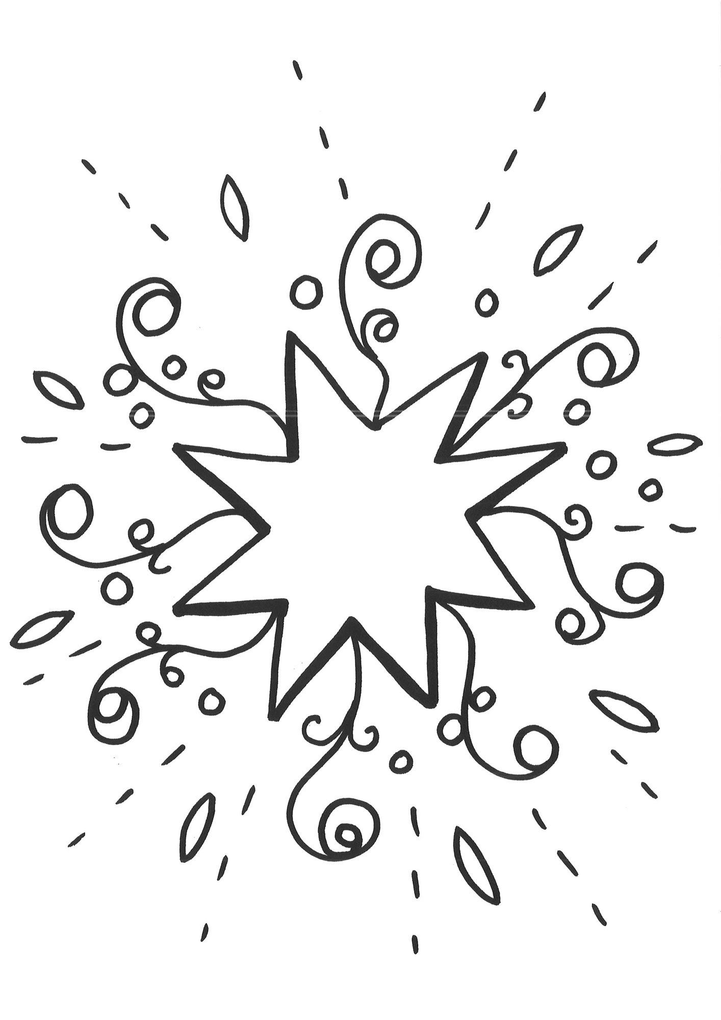 Ausmalbild Schneeflocken und Sterne Malvorlage Stern 1 kostenlos ausdrucken
