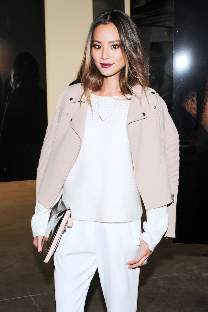 Le Fashion Blog -- Jamie Chung with burgundy lipstick, a blush pink leather moto jacket, ribbed sweater and clutch -- Nars 20th Anniversary -- Via W Mag -- photo Le-Fashion-Blog-Jamie-Chung-Burgundy-Lipstick-Blush-Pink-Leather-Moto-Jacket-Nars-20th-Anniversary-Via-W-Mag.jpg