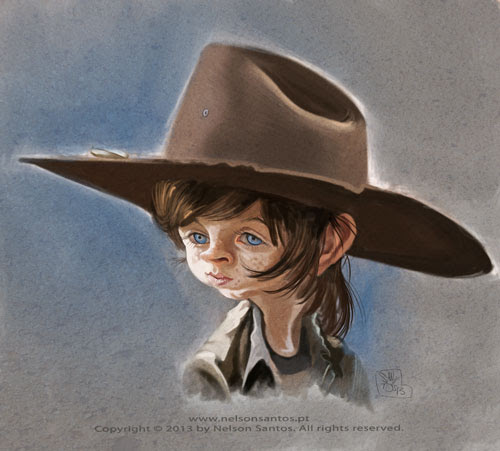 Carl-Grimes-the-kid-from-walking-dead-caricature by caricaturas