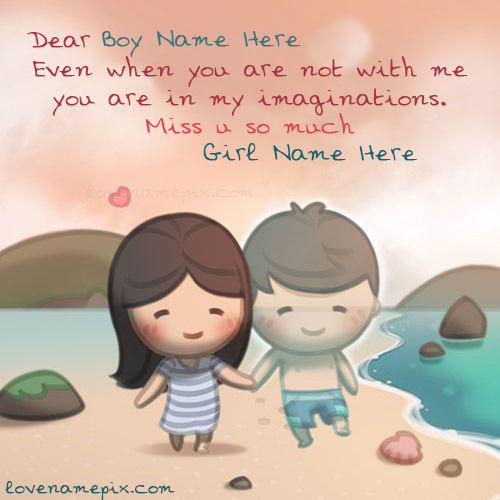 Write Name On Cute Couple Girl Miss U Picture
