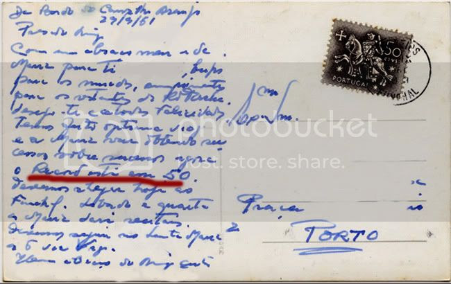 Postcard 1961 /Terceira (verso)