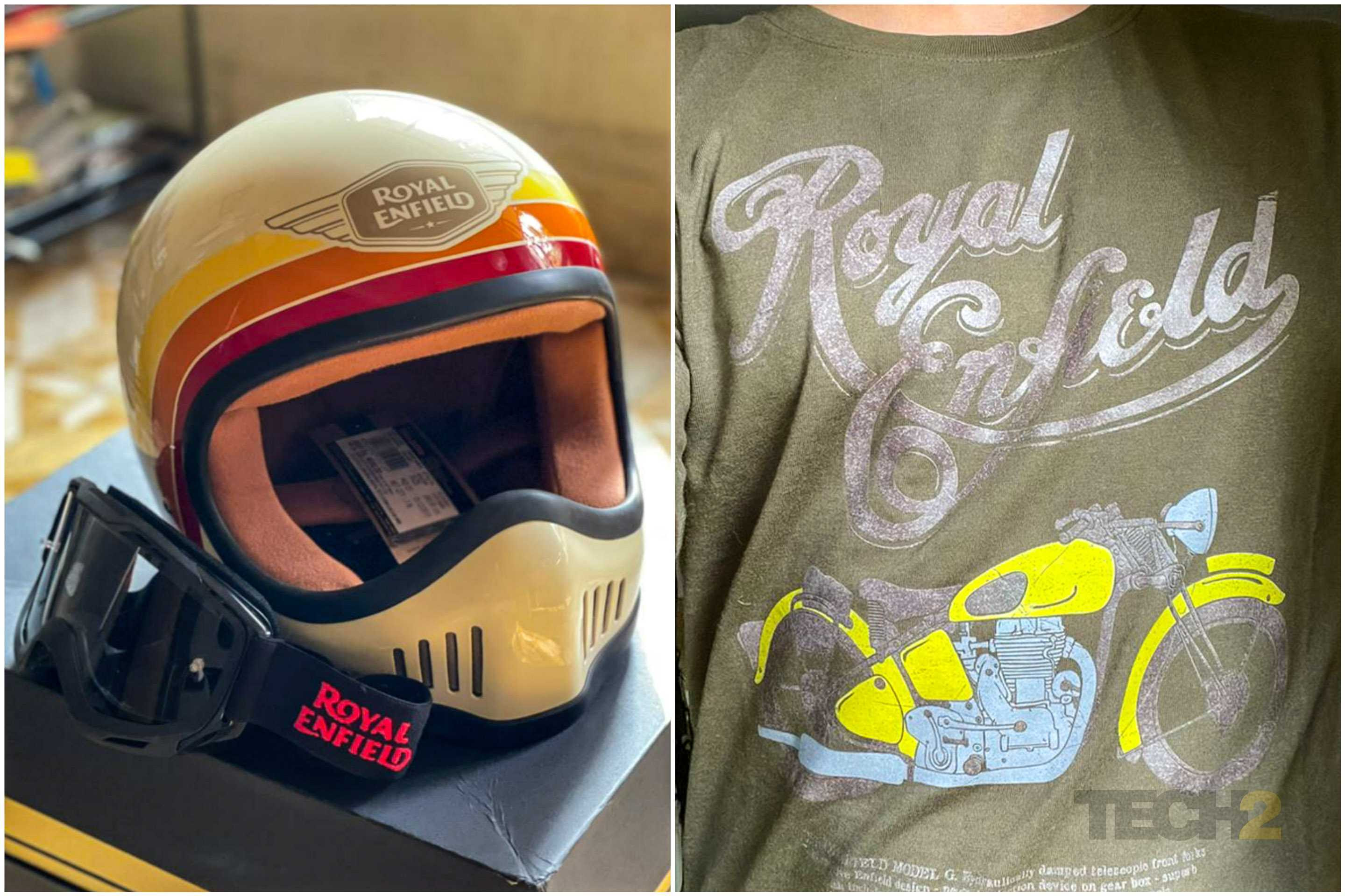 Royal Enfield merchandise. Image: Tech2/ Amaan Ahmed