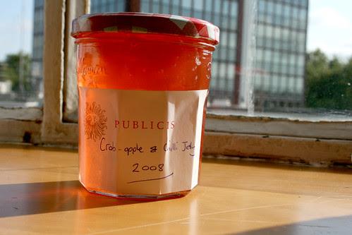 Crab apple and chilli jelly on windowsill