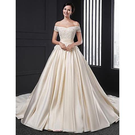 A line Wedding Dress   Champagne Chapel Train Off the
