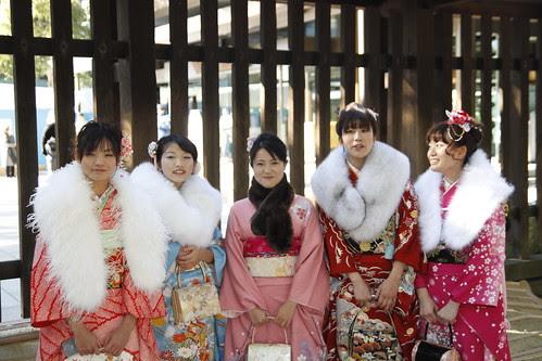A group of ladies in kimono