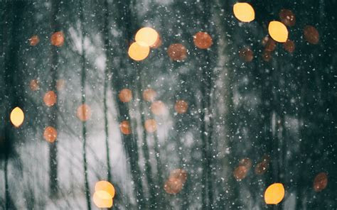 Lights and Snowflakes Falling Down widescreen wallpaper