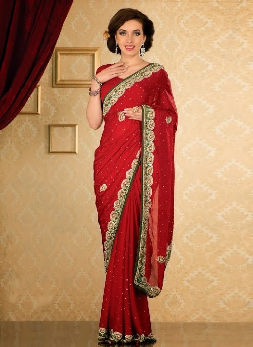 Beautiful-Girls-Women-Wear-Christmas-Exclusive-Saree-Dress-New-Fashion-Red-Suits-Design-4